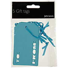 Buy John Lewis To and From Gift Tags, Turquiose, Pack of 5 Online at johnlewis.com
