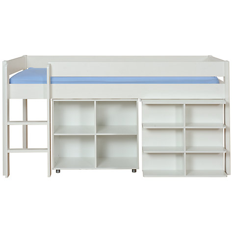 Buy Stompa Uno Plus Mid-sleeper Bedstead with Desk and Cube Unit, White Online at johnlewis.com