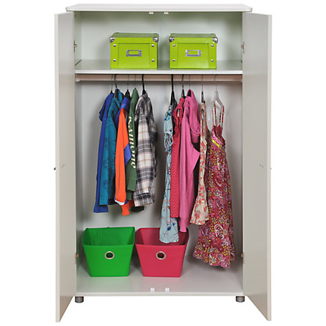 Buy Stompa Uno Plus Double Children's Wardrobe, White, H136cm Online at johnlewis.com