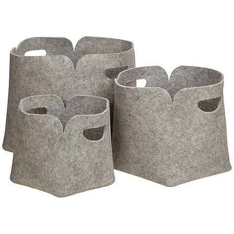Buy John Lewis Felt Storage Boxes, Set of 3 Online at johnlewis.com