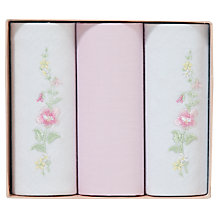 Buy John Lewis Cotton Plain and Embroidery Ribbon Handkerchiefs, Pack of 3 Online at johnlewis.com