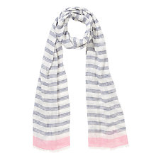Buy Collection WEEKEND Linen and Viscose Mix Stripe Scarf, Navy/Pink Online at johnlewis.com