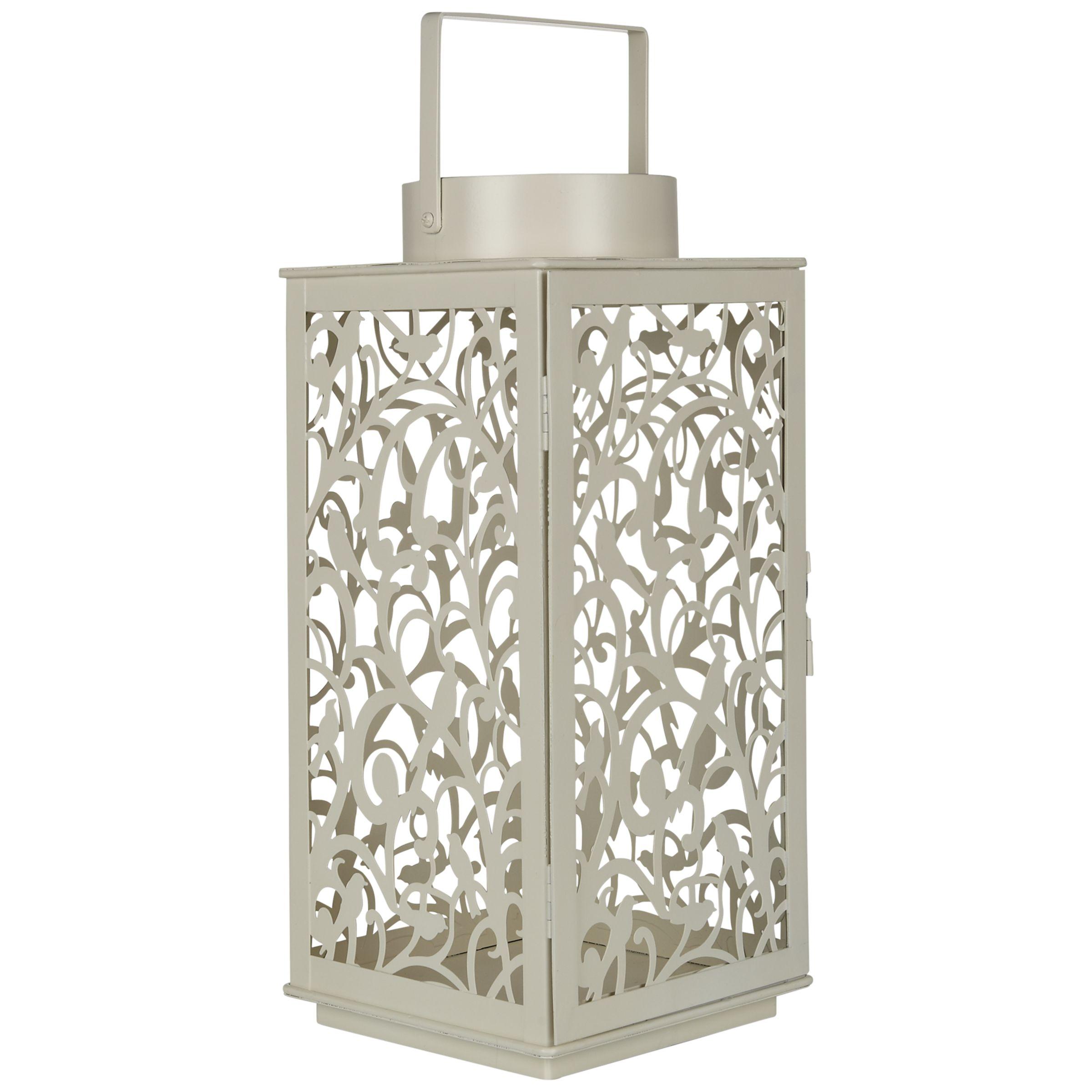 John Lewis Fleur Outdoor Lantern, H37cm, Cream