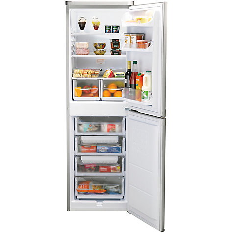 Buy Indesit CAA55NX Fridge Freezer, A+Rated, 55cm Wide, Stainless Steel Look Online at johnlewis.com