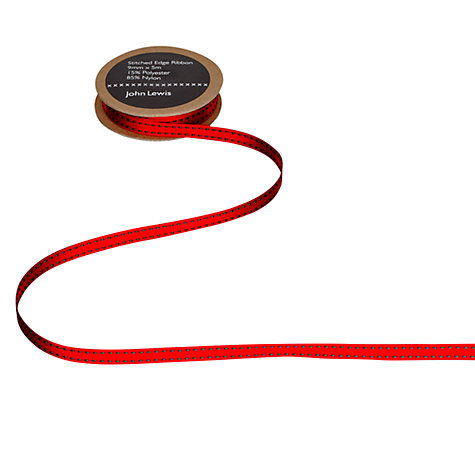 Buy John Lewis Stitched Edge Ribbon, Red/Green Online at johnlewis.com