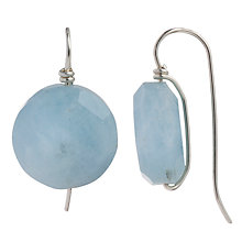 Buy Cobra & Bellamy Sterling Silver Round Faceted Aquamarine Hook Earrings Online at johnlewis.com