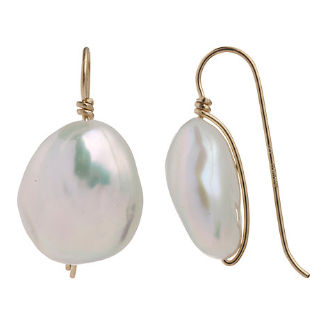 Buy Cobra & Bellamy 18ct Gold Pearl Chunk Hook Earrings Online at johnlewis.com