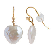 Buy Cobra & Bellamy 18ct Gold Pearl Heart Hook Earrings Online at johnlewis.com