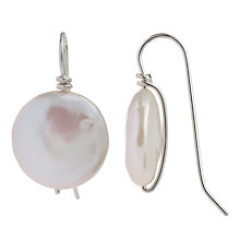 Buy Cobra & Bellamy Sterling Silver Pearl Chunk Disc Hook Earrings Online at johnlewis.com
