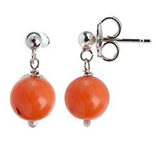 Buy Cobra & Bellamy Sterling Silver Antique Mediterranean Coral Drop Earrings Online at johnlewis.com