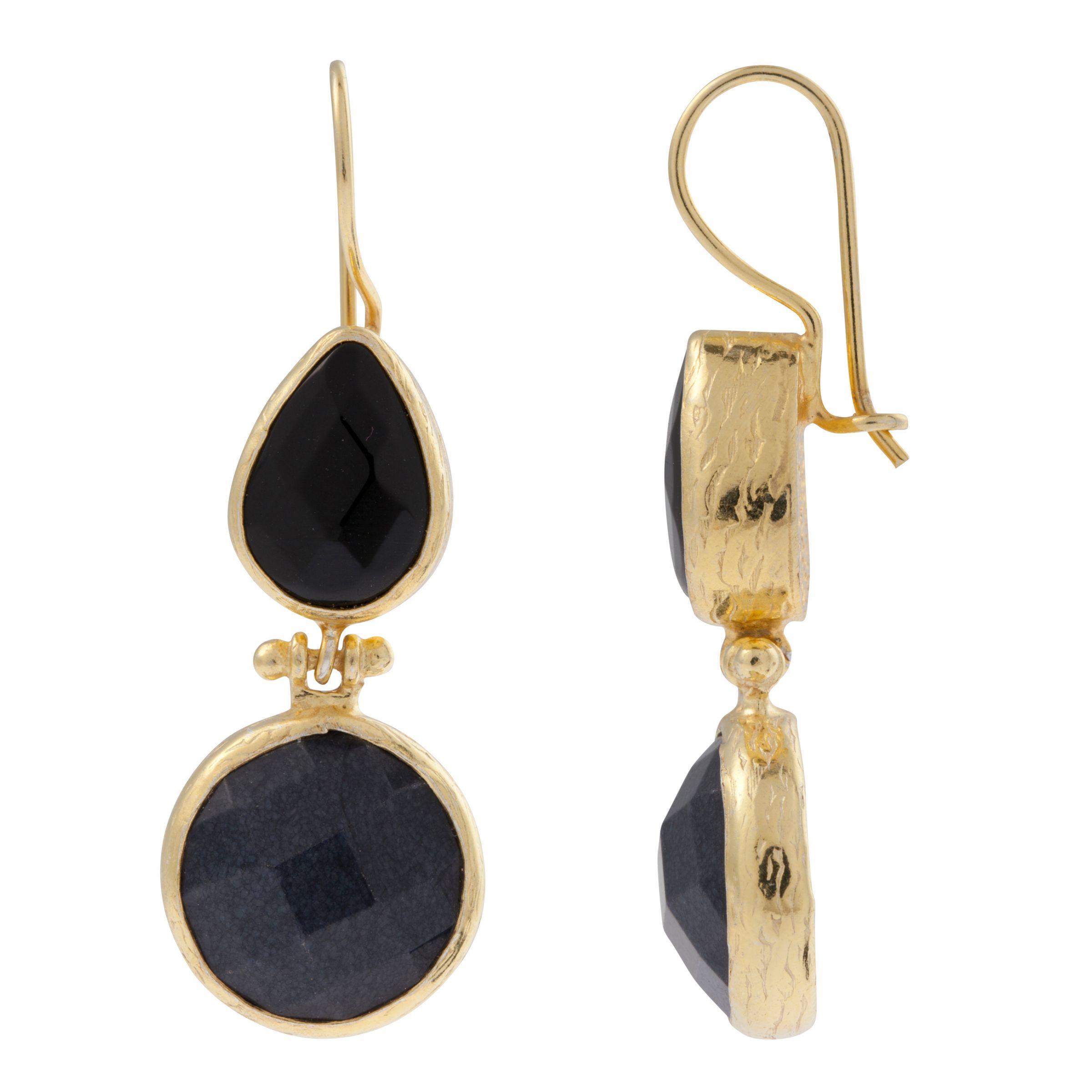 Lottie Stone Double Drop Gemstone Hook Earrings