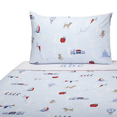 John Lewis Alphabet Cotbed Duvet Cover And Pillowcase Set Blue
