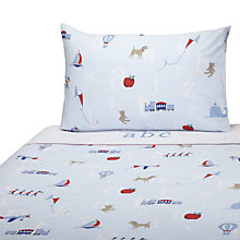 Buy John Lewis Alphabet Cotbed Duvet Cover and Pillowcase Set, Blue Online at johnlewis.com