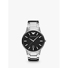 Buy Emporio Armani AR2457 Men's Large Round Stainless Steel Bracelet Watch Online at johnlewis.com