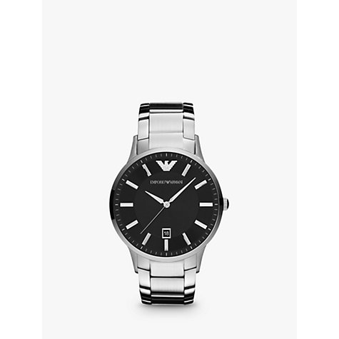 Buy Emporio Armani AR2457 Men's Stainless Steel Bracelet Strap Watch, Silver/Black Online at johnlewis.com