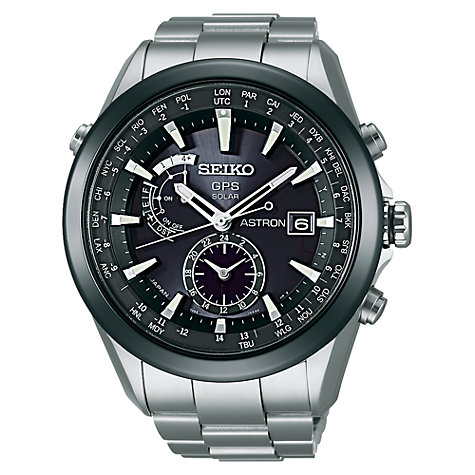 Buy Seiko Astron SAST003G Men's GPS Solar Titanium Bracelet Watch, Silver Online at johnlewis.com