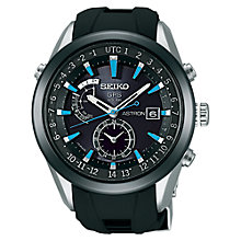 Buy Seiko Astron SAST009G Men's GPS Solar Silicone Strap Watch, Black Online at johnlewis.com