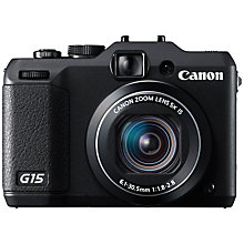 "Buy Canon PowerShot G15 Digital Camera, HD 1080p, 12.1MP, 5x Optical Zoom, 3"" LCD Screen, Black Online at johnlewis.com"