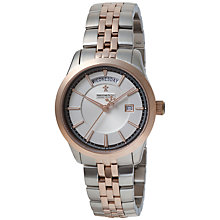 Buy Dreyfuss & Co DGB00059/06 Men's 1953 Two-Tone Day Date Bracelet Watch, Silver/Rose Gold Online at johnlewis.com