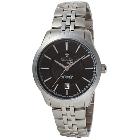 Buy Dreyfuss & Co DGB00065/04 Men's 1953 Black Dial Date Bracelet Watch, Silver Online at johnlewis.com