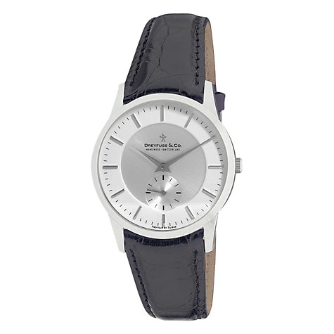 Buy Dreyfuss & Co DGS00001/02 Men's 1946 Leather Strap Watch, Black Online at johnlewis.com
