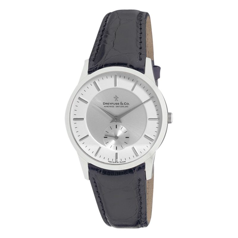 Dreyfuss & Co Dreyfuss & Co DGS00001/02 Men's 1946 Leather Strap Watch, Black/Silver