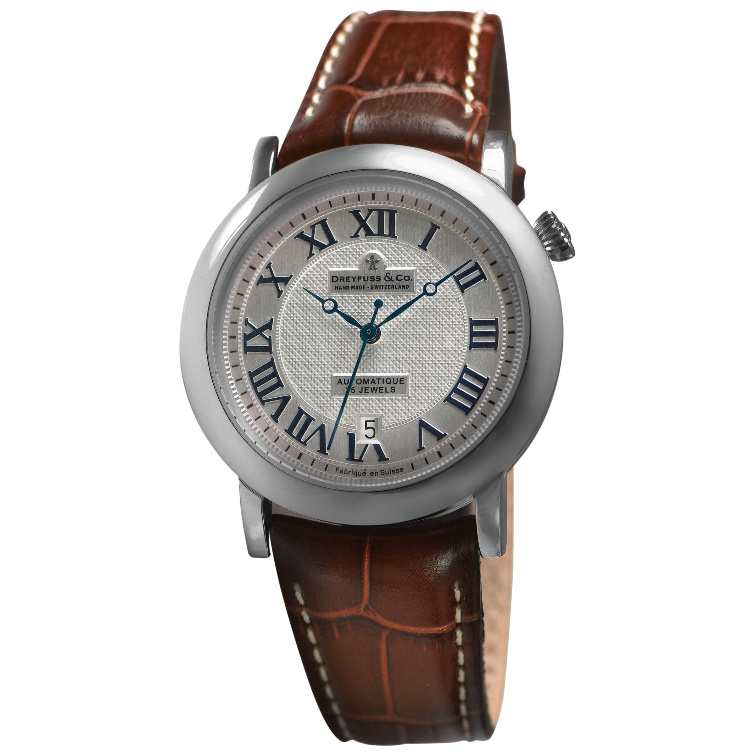 Dreyfuss & Co Dreyfuss & Co DGS00030/21 Men's 1925 Leather Strap Watch, Brown/Silver