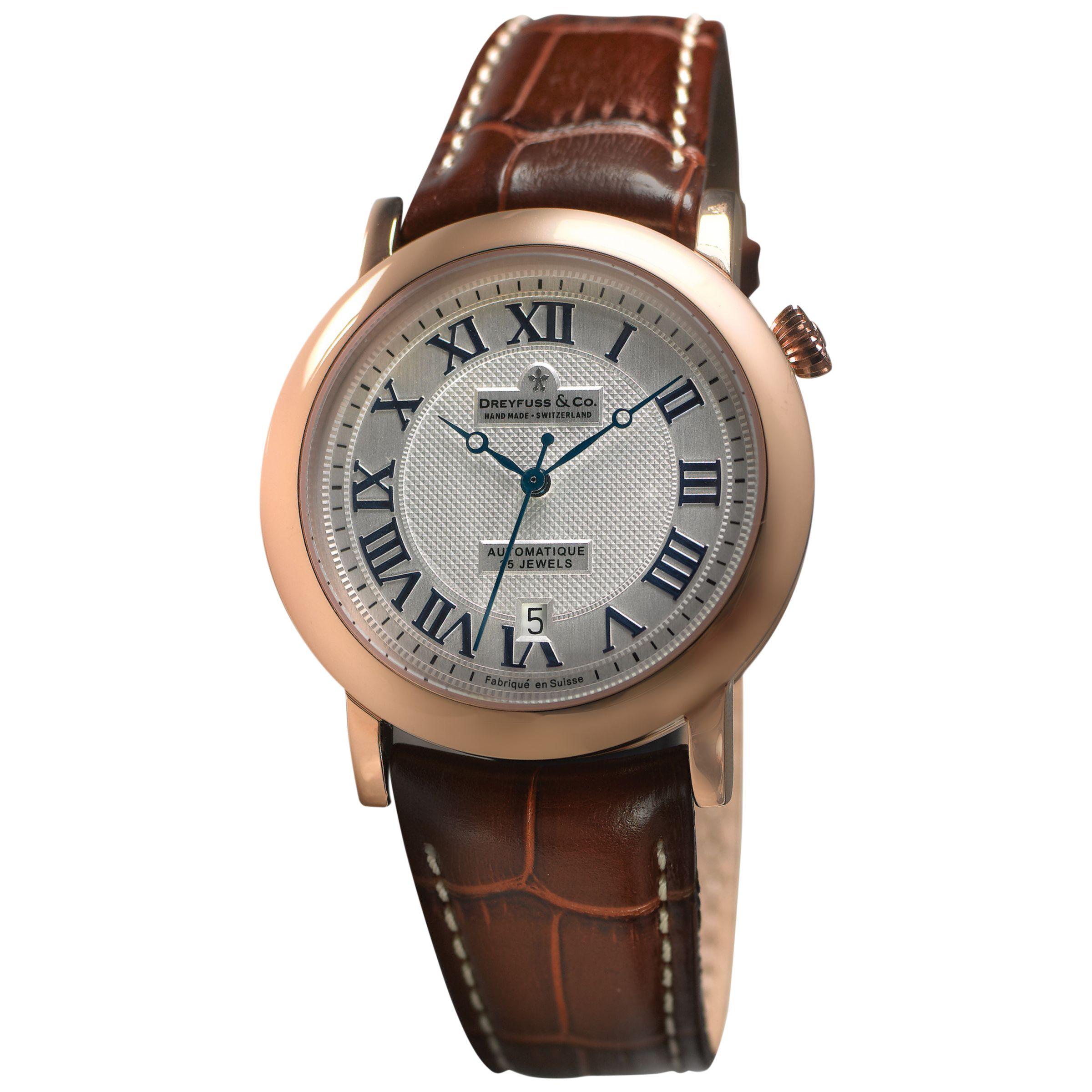 Dreyfuss & Co Dreyfuss & Co DGS00031/21 Men's 1925 Date Leather Strap Watch, Brown/Silver