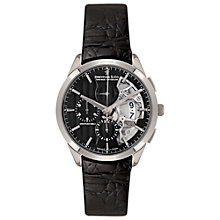 Buy Dreyfuss & Co DGS00071/04 Men's 1925 Half Skeleton Chronograph Leather Strap Watch, Black Online at johnlewis.com