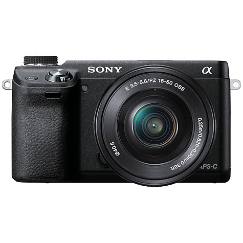 "Buy Sony NEX-6L Compact System Camera with 16-50mm Lens, HD 1080p, 16.1MP, Wi-Fi, 3"" LCD Screen, Black Online at johnlewis.com"