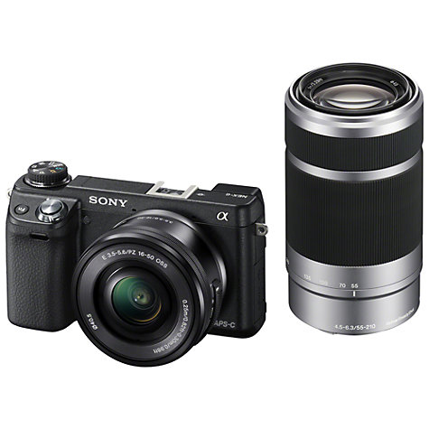 "Buy Sony NEX-6Y Compact System Camera with 16-50mm & 55-210mm Lens, HD 1080p, 16.1MP, Wi-Fi, 3"" Screen Online at johnlewis.com"