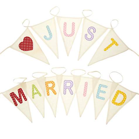 Buy Big Decs Just Married Bunting, Multi, L7m Online at johnlewis.com
