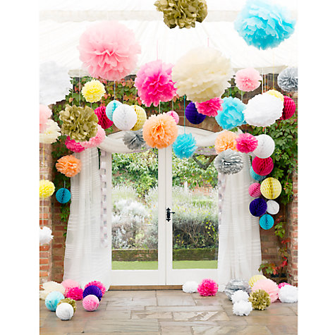 Buy Talking Tables Pom Pom Decorations, White, Large, Pack of 3 Online at johnlewis.com