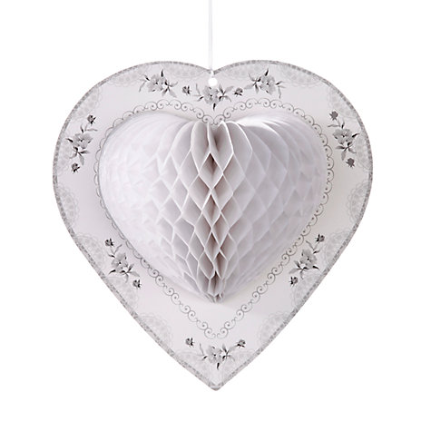 Buy Talking Tables Honeycomb Heart Decorations, White, Pack of 3 Online at johnlewis.com