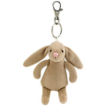 Buy Jellycat Bashful Bunny Keyring, Beige Online at johnlewis.com