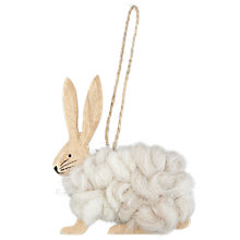 Buy John Lewis Wooden Wooly Rabbit Decoration, Natural Online at johnlewis.com