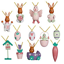 Buy John Lewis Mini Wooden Decorations, Multi, Pack of 12 Online at johnlewis.com