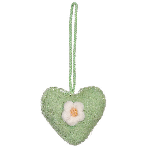 Buy John Lewis Felt Heart Decoration, Green Online at johnlewis.com