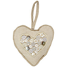 Buy Button Heart Decoration, Natural Online at johnlewis.com