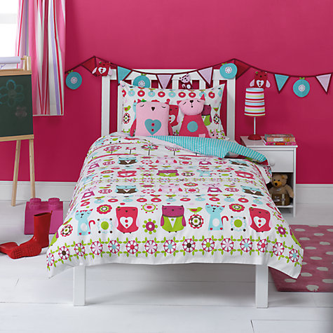Buy little home at John Lewis Kaleidescope Owl Single Duvet Cover and Pillowcase Set, Multi Online at johnlewis.com