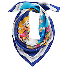 Buy Joules Quay Silk Square Scarf, Blue Online at johnlewis.com