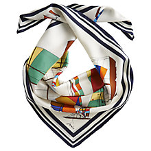Buy Joules Regatta Quay Silk Scarf, Multi Cream Online at johnlewis.com