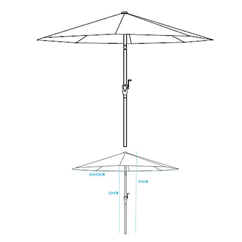 Buy John Lewis Wood-look Parasol, 350cm Online at johnlewis.com