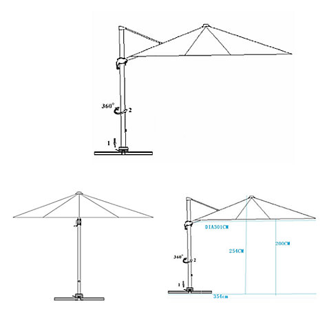 Buy John Lewis Freestanding Parasol, Dia.3m Online at johnlewis.com