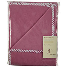 Buy John Lewis Fleece Spot Trim Blanket, Raspberry Online at johnlewis.com