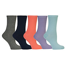 Buy John Lewis Plain Cotton Feel Socks, Pack of 5, Multi Online at johnlewis.com