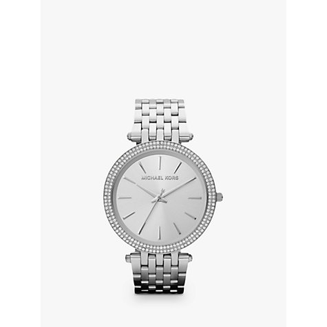 Buy Michael Kors MK3190 Women's Glitzy Bezel Watch, Silver Online at johnlewis.com