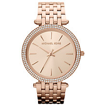 Buy Michael Kors MK3192 Women's Glitzy Bezel Watch, Rose Gold Online at johnlewis.com