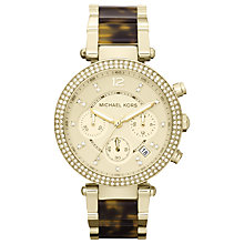 Buy Michael Kors MK5688 Women's Parker Chronograph Diamante Bezel Bracelet Strap Watch, Gold/Brown Online at johnlewis.com