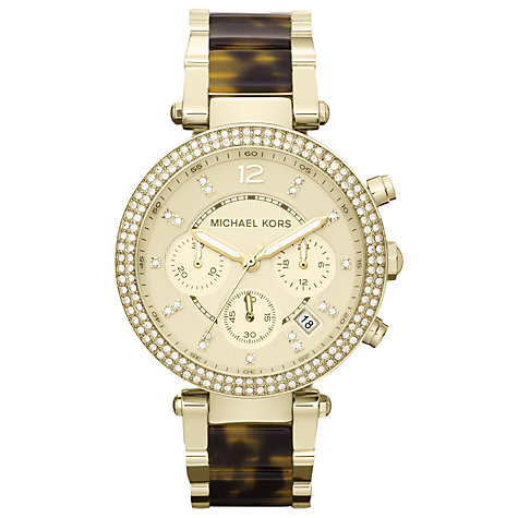 Buy Michael Kors MK5688 Women's Tortoiseshell Diamante Bezel Chronograph, Champagne Online at johnlewis.com